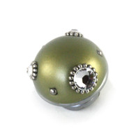 Nu Mini Style 6 Jade 1.5 in. diameter with silver metal details and Swarovski crystals.