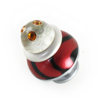 Nu Congo Light knob 1.5 in. diameter in ruby, black and alabaster with Swarovski topaz crystals