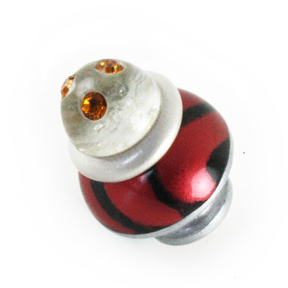 Nu Congo Light knob 1.5 in. diameter in ruby, black and alabaster with Swarovski topaz crystals