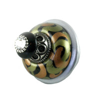 Grand Tiki Knob 2.5 in. diameter black jade and amber with swarovski crystal