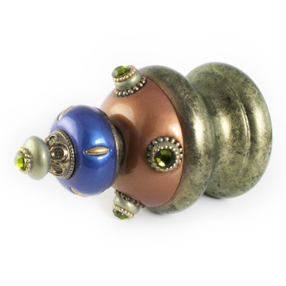 Jumbo Finial Isabella in amber, lapis and jade has gold metal details and olivine crystals.