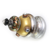 Jumbo Finial Grand Tiki in light gold, black amber and silver with Swarovski crystals.
