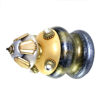 Jumbo Finial Tut in light gold,  alabaster and light sapphire has gold metal details and Swarovski crystals