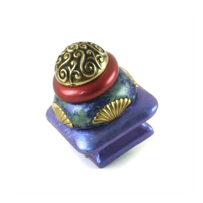 """Mini Tudor knob 1.5"""" colored in periwinkle,turquoise and ruby with gold metal details"""