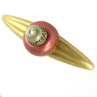Duchess coral orbit Pull 5.25 Inches with 4 Inch hole Span has gold metal accents and crystal