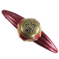 Tudor Garnet Ruby Orbit Pull 5.25 In. with 4 in. hole spa has gold metal details.