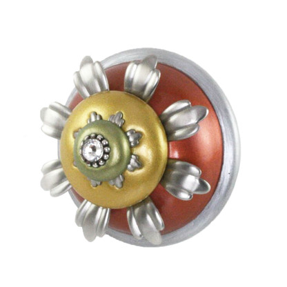 XL Tiger Lily coral knob 2.5  in. diameter and 1.75 in. projection has silver metal details and swarovski crystal
