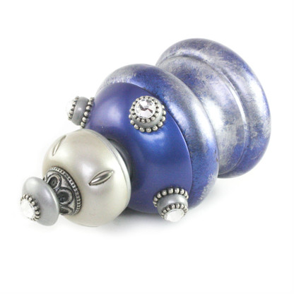 Jumbo Finial Isabella in Lapis, Alabaster  and silver  has silver metal details and swarovski  crystals.
