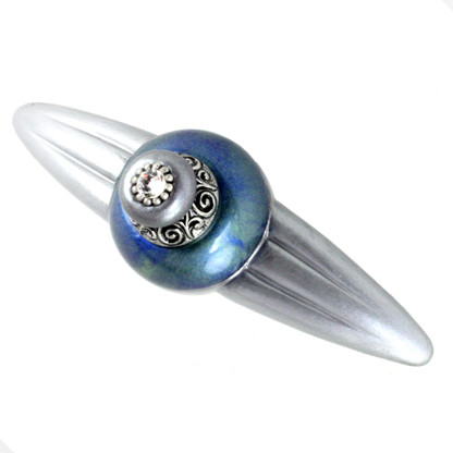Duchess Turquoise Orbit pull 5.25 inches with 4 inch hole span with silver metal accents and crystal