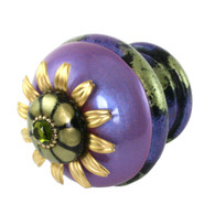 Finial Iris  in periwinkle and jade with gold metal accents and olivine crystal