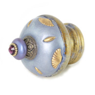 Finial Isabella  in light sapphire and periwinkle with gold metal accents and amethyst crystal.