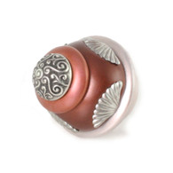 Round Tudor knob 2 inches diameter in agate and coral with silver metal details.