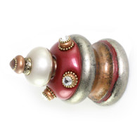Jumbo Finial Isabella in ruby, alabaster and amber has gold metal details and swarovski crystals.