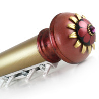 """Traverse System  Hand Drawn 2"""" diameter smooth  rod with gold finish and Poppy  finial Coral and ruby"""