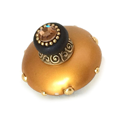 Mini Duchess Knob Deep Gold 2 Inches Diameter with gold metal details and Swarovski light smoke topaz crystal.