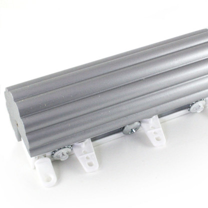 Cord Drawn Traverse 2 in. diameter Reeded rod in Silver paint finish