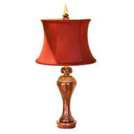 Sassy Sara Table lamp in ruby, agate and amber with silk drum shade in poinsettia.