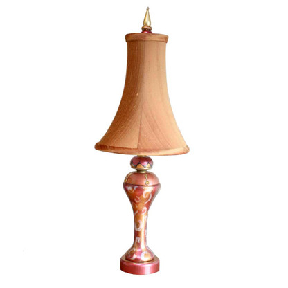 Chilli Pepper Accent Lamp with slender bell shade silk pecan