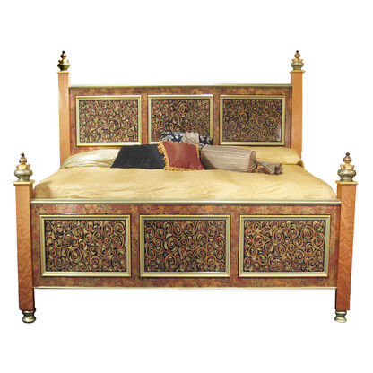 Casablanca Bed with painted panels in amber, agate and jade embellished with Grand Tiki Finials.