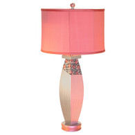posh pam  table lamp with shallow drum shade in pink dupioni silk