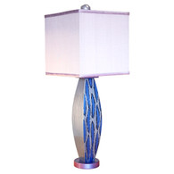 Blue Betty lamp  with square  shade in orchid silk has paint treatment in lapis and light sapphire blue