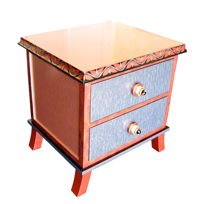 Rumba 2 end table night stand has light sapphire, coral and pale blush paint finish.