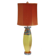 Gilda Glam Table lamp with tall drum shade in silk copper