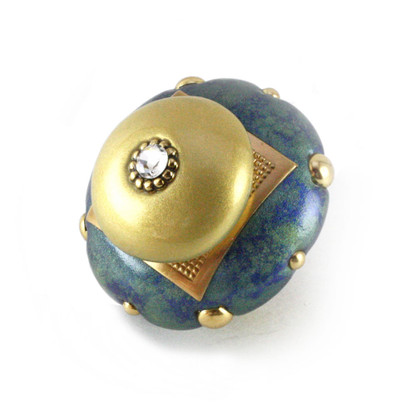"""Mini Kyle Knob 2"""" diameter in Turquoise and light gold with gold metal details and Swarovski crystal"""