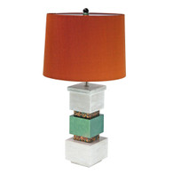 Cubee table lamp in emerald paint finish and pickled oak with hardback drum shade in silk copper