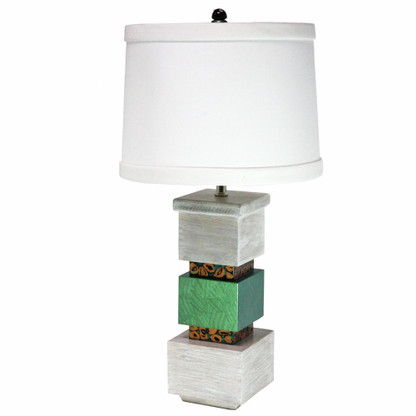Cubee table lamp in emerald paint finish and pickled oak with hardback drum shade in white linen