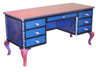 Jitterbug desk in lapis paint finish has file drawer concealed by 2 drawer facade.