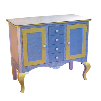 Bolero Compact Credenza in light sapphire blue and light gold paint finish has nu lily knobs 1.5 in' diameter.