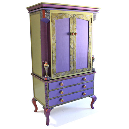 Diva Armoire Storage and media cabinet in periwinkle and jade paint finish