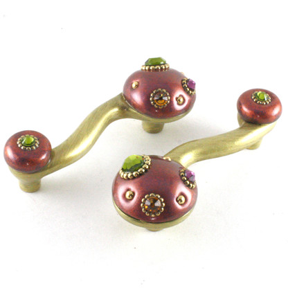 Style 6 Dark Copper EEL pulls with gold metal details and multi colored crystals