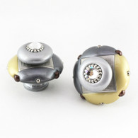 Mini Duo light gold 2 in. diameter with silver metal accents and Swarovski Crystal