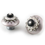 Mini Lily Knobs Light Bronze 2 Inches Diameter with silver metal details and crystal.