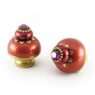 Nu Poppy knobs 1.5 inches with gold metal details and Swarovski amethyst crystal