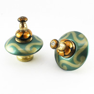 Mini Carnival Knobs Emerald 2 Inches Diameter with gold metal accents