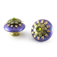 Mini Iris knobs 2 inches diameter with gold metal details and olivine crystal