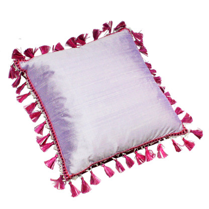 Fiji Pillow Orchid with tassel trim has a duo color scheme. One side is dupioni silk in light orchid pink.