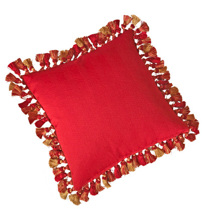 Flip side of Lido pillow is a woven vibrant red chevron fabric.