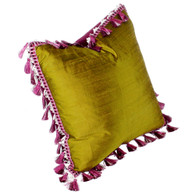 Rio pillow nugget with tassel trim is covered in nugget green silk and the flip  side is fuchsia velvet