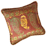 Casbah pillow mocha has paisley print in golden yellow and spruce green on brown background.