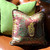 Casbah pillow mocha with is magnificent with leather sofa and citrus green accent pillow.