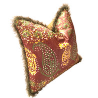 Casbah pillow mocha with eyelash rope trim is covered in hand dyed silk in gold and green paisley print.