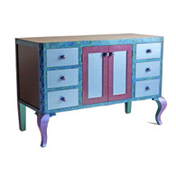 Charisma bathroom vanity 6 drawer sink cabinet in light sapphire blue, amethyst and periwinkle paint treatment