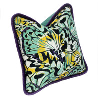 Bali Pillow in exotic butterfly silk print has deep purple velvet piping.