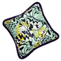 Bali Pillow in exotic silk butterfly print has deep purple velvet piping. The flip side is covered in  plush velvet in light aqua green