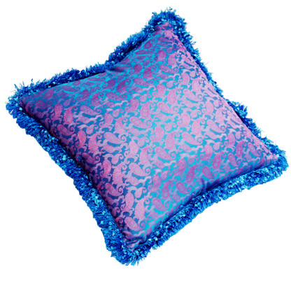 Jaipur pillow in silk paisley print has vibrant blue fringe.