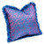 Jaipur pillow covered in silk paisley print in exotic peacock blues and orchid violet.